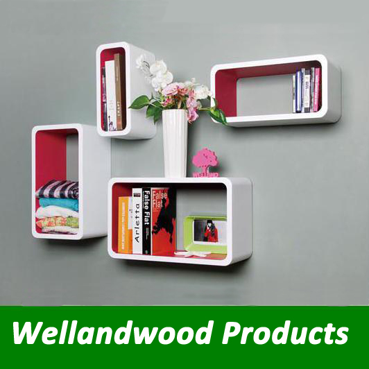 Wood Wall Display cube shelves