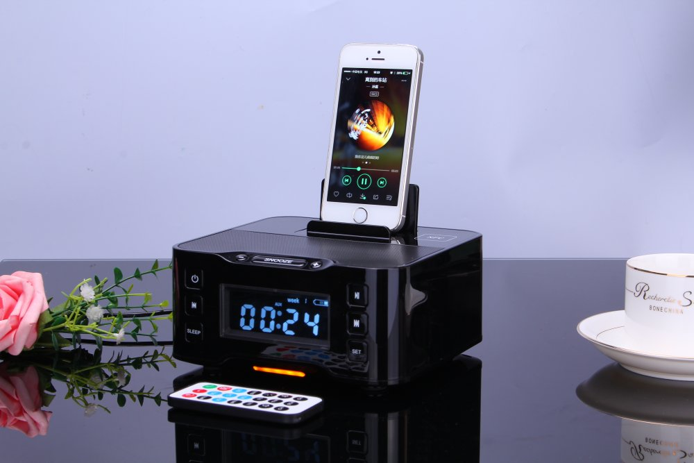 Multiple docking station for play and charging, FM Radio, Bluetooth NFC lithium battery Double Alarm clock speaker
