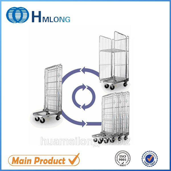 Buy BY-08 Transportation nestable 3 sided wire rolling metal storage cage