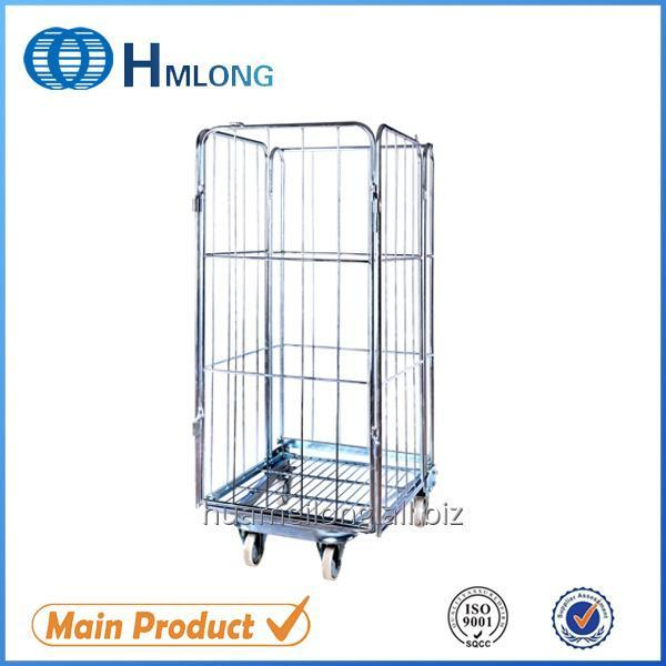 Buy BY-09 Transportation nestable 4 sided wire rolling metal storage cage