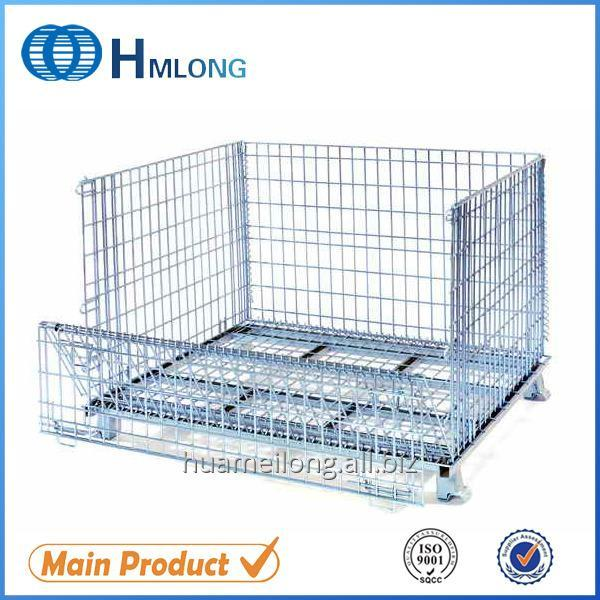 Buy W-1 European rolling folding rigid steel wire mesh basket