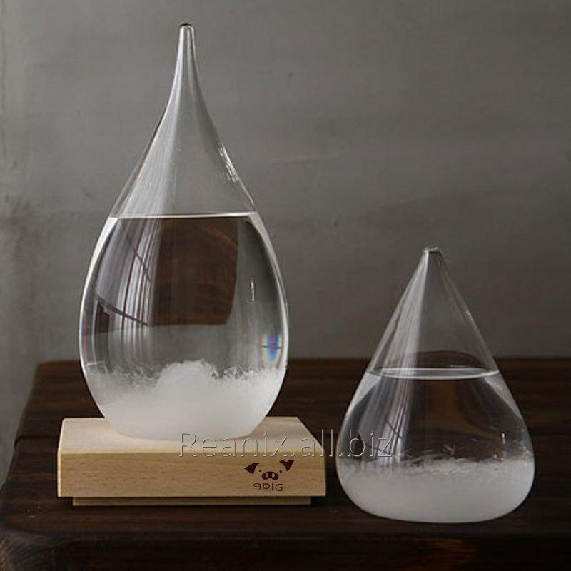 Creative Glass Weather Forecast bottle with Square Wood Holder for Decoration