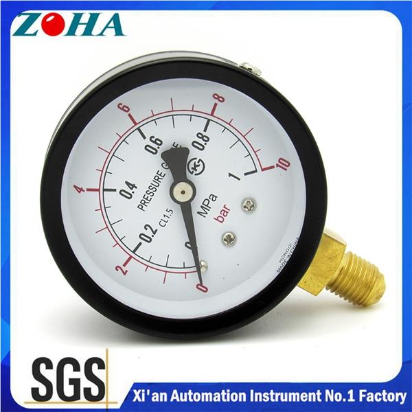 购买 General pressure gauge with steel case brass connector