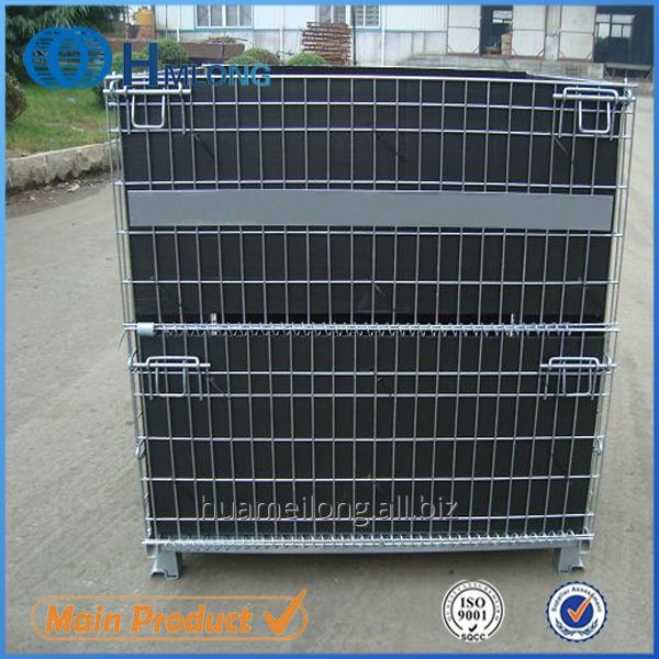 Buy W-28 Warehouse collapsible stacking steel mesh container for pet preform