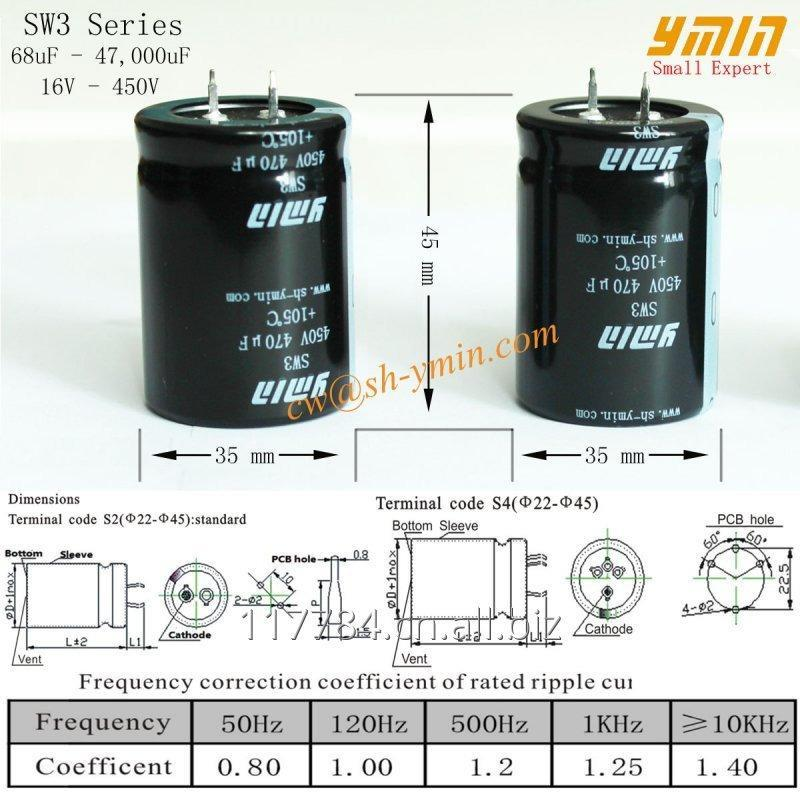 AC Capacitor Snap In Aluminum Electrolytic Capacitor for Wind Turbine Power  Inverter Solar PV Power Inverter RoHS