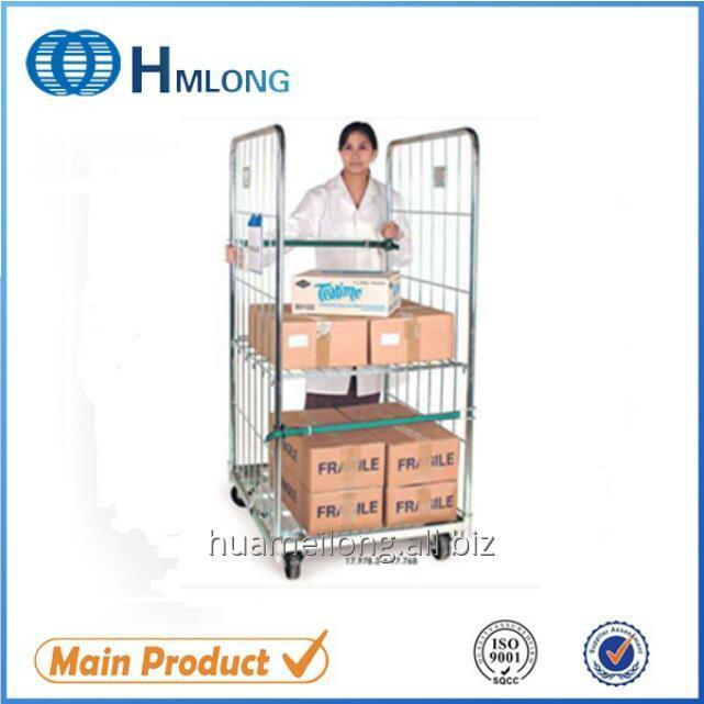 BY-07 2 sides Warehouse rigid metal storage roll wire container
