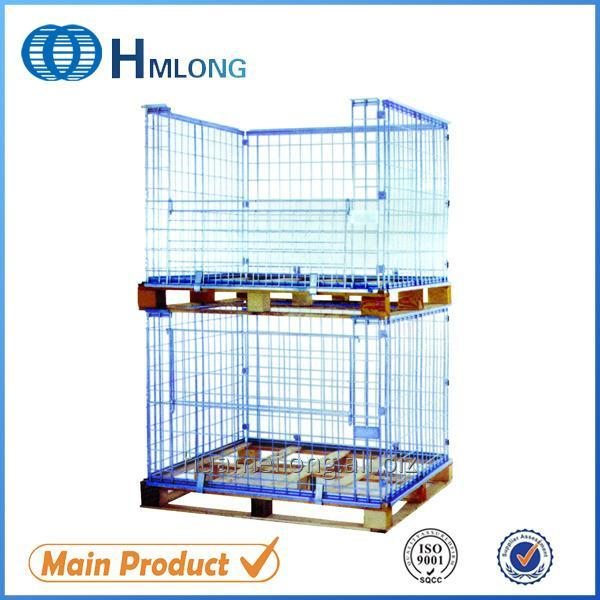 Buy NF-1 Warehouse stackable metal foldable cage pallets