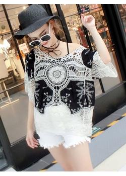 White / Black Casual Lace Transparent Fashion Tops