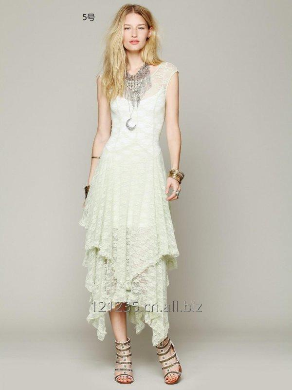 Women Summer Casual Maxi Sheer lace Dress
