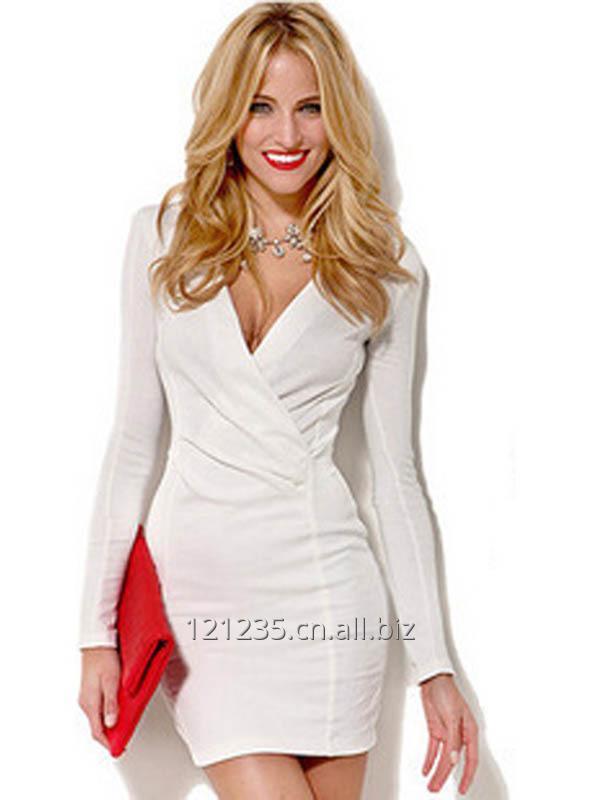 Women Summer Red White V-Neck Sexy Office Dress