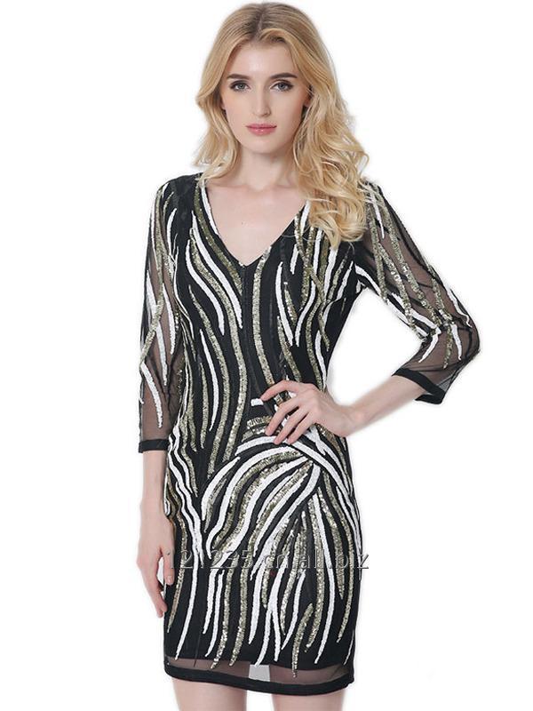 购买 Women Summer V-Neck Sexy Sequin Mini Dress