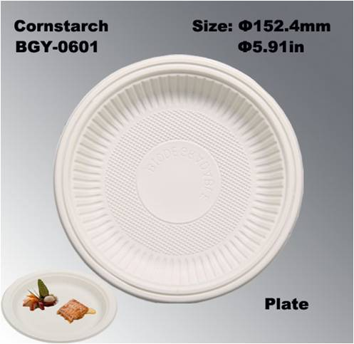 购买 6 Inches FDA Certificated Disposable Biodegradable Cornstarch Tableware Dishes Plates