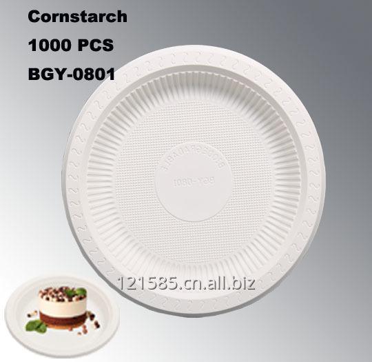 购买 新玉米淀粉材料的环保的中国制造的8英寸一次性餐盘