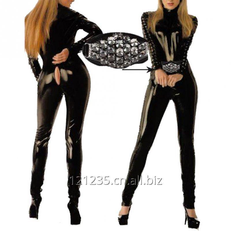 购买  Womens Leather Catsuit Costumes Clubwear Zipper Front Jumpsuit