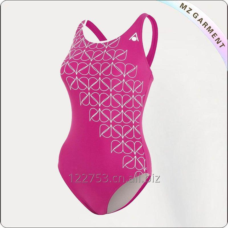 Buy Women Dark Pink & White Competitive Swimsuit