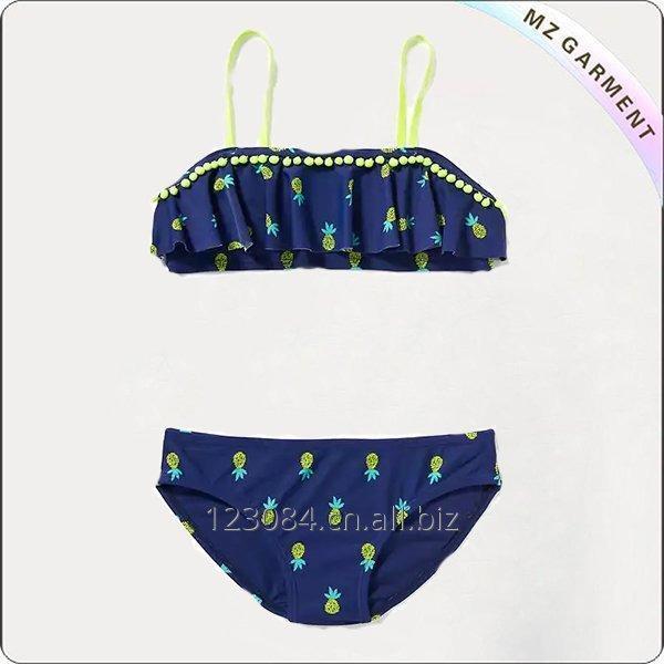 Buy Girls' Pom-Pom-Trim Bikini