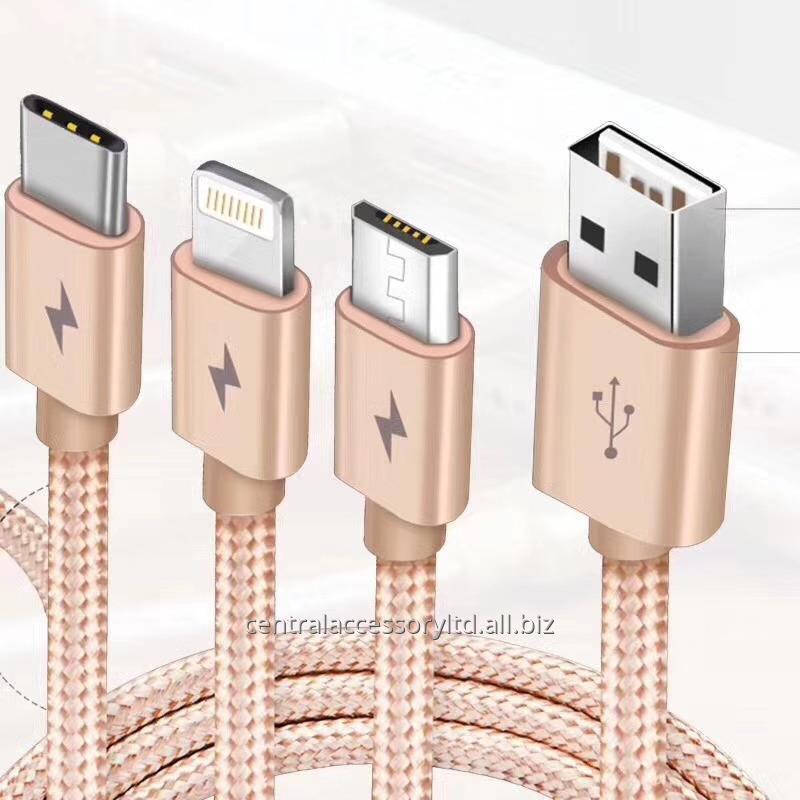 Купить PINGAO PGX-ОНА 3 в 1 зарядный кабель для передачи данных USB линии связи, для мобильных телефонов и планшетов