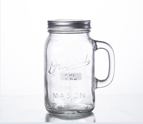 Buy 900ML embossed big mason jar with handle