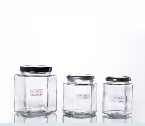 Buy Hexagonal glass honey jars with metal screw cap