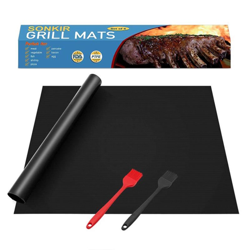 Buy Black 15.75 x 13 Inch 0.3 mm Heavy Duty Reusable Easy to Clean Non Stick BBQ Grill Mat