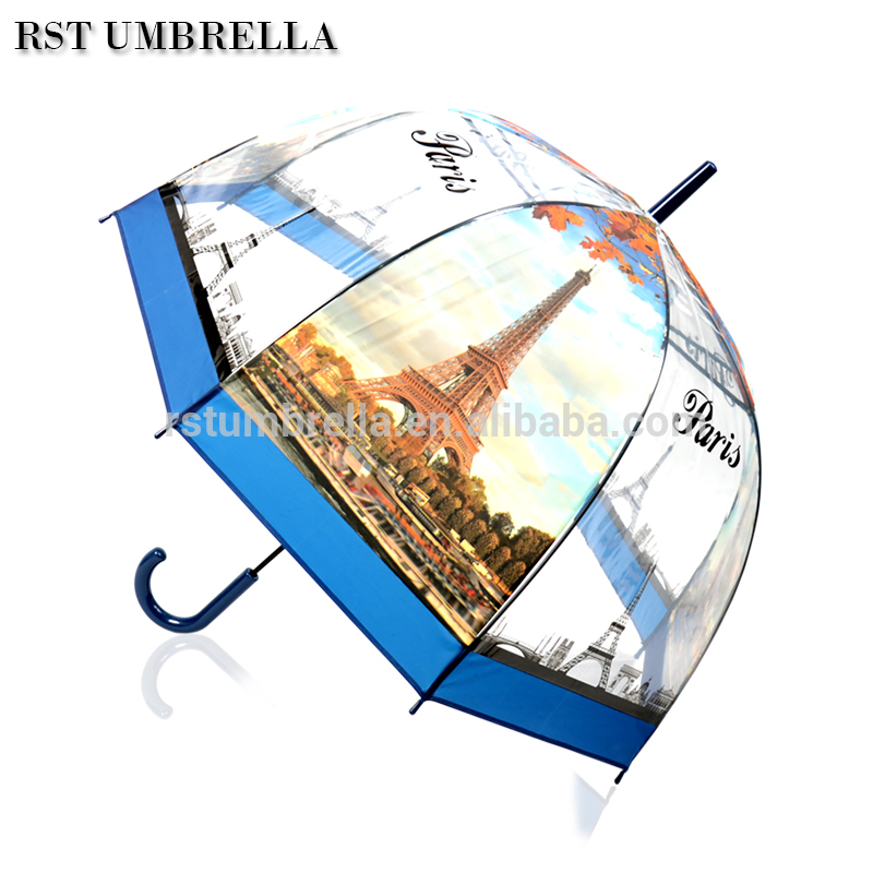 Buy RST promotional cheap clear umbrella printed with world famous scenery design POE straight umbrella from Chinese supplier