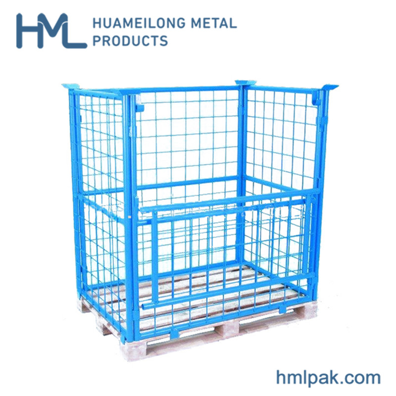 Buy Heavy duty collapsible foldable cheap rigid pallet cage for handling goods
