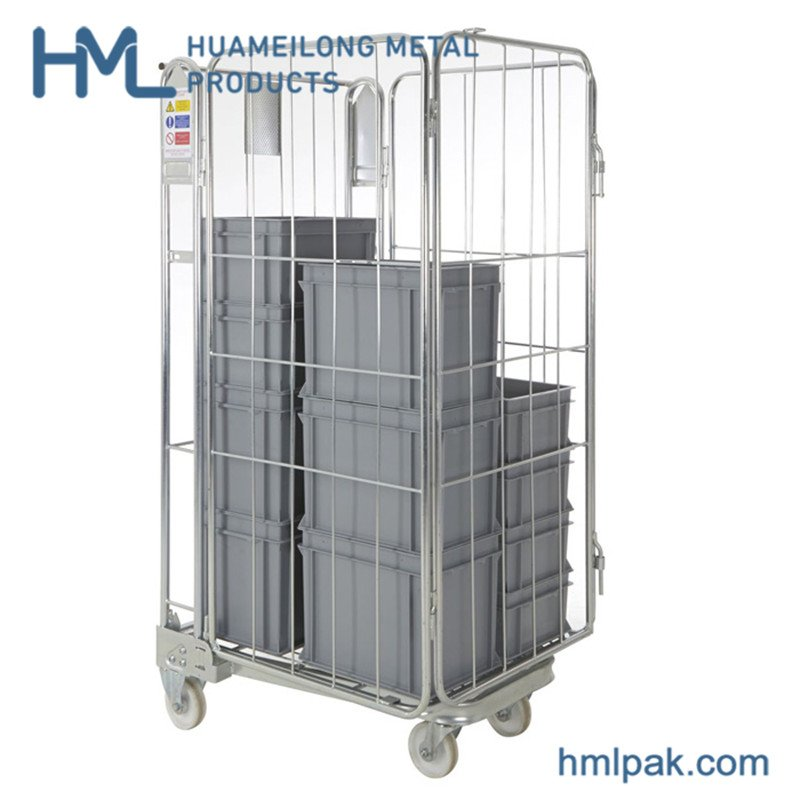 BY-09 4 sided Logistics foldable metal wire mesh roll cage cart for sale