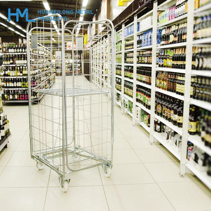 شراء BY-09 4 sided Logistics foldable metal wire mesh roll cage cart for sale
