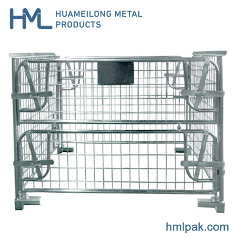 Buy Warehouse powder coated hot sale durable wire mesh pallet box