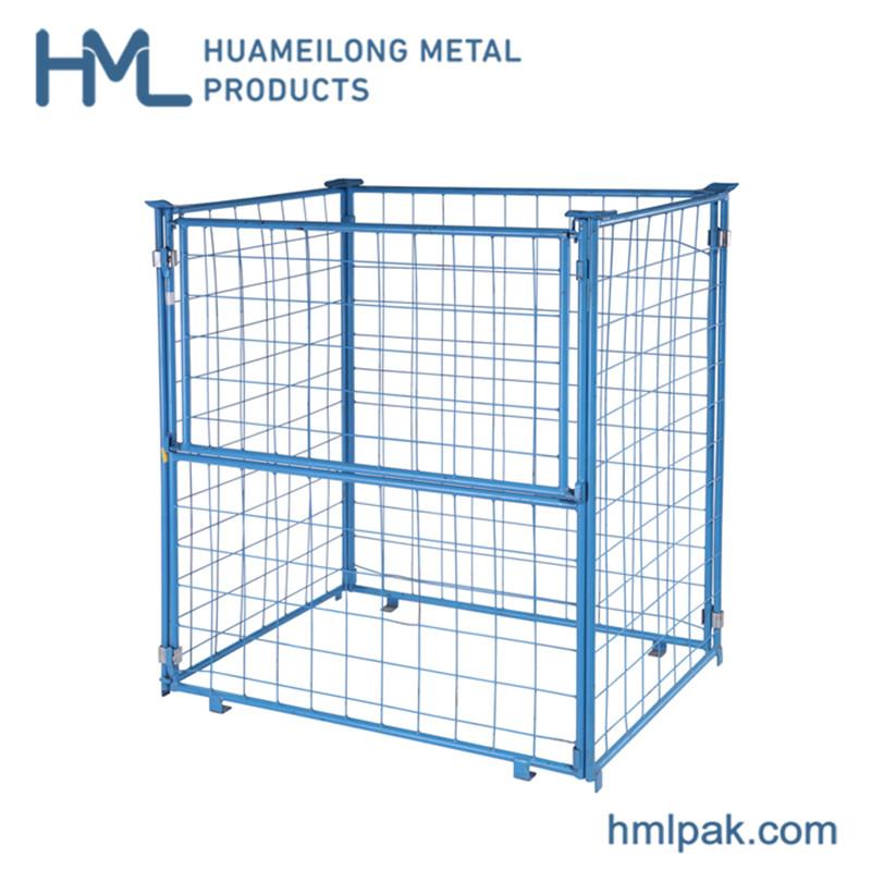 Buy Durable detachable logistics equipment bulk huameilong wire mesh pallet basket