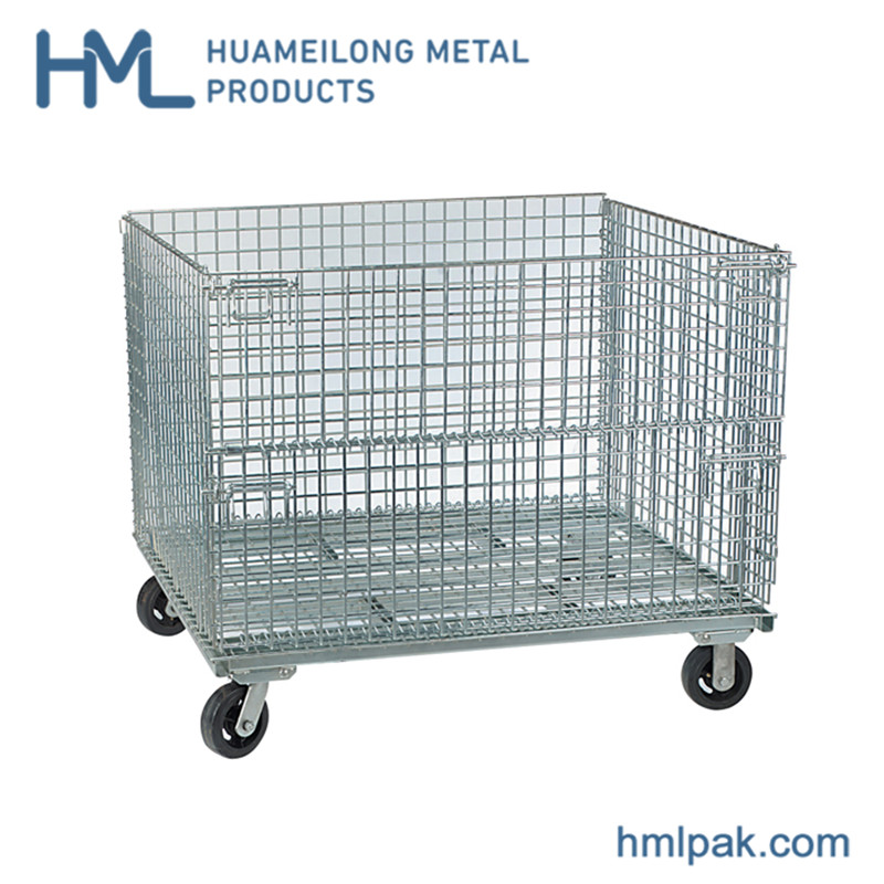 Buy Durable hot sale recycle stillage pallet container with 4 wheels