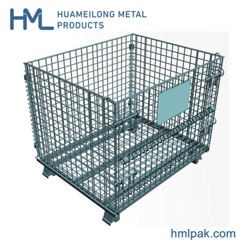 Buy Transport high quality warehouse wire mesh container with 4 wheels