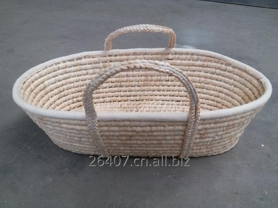 Buy Corn husk moses basket, straw made baby basket with wooden stand,