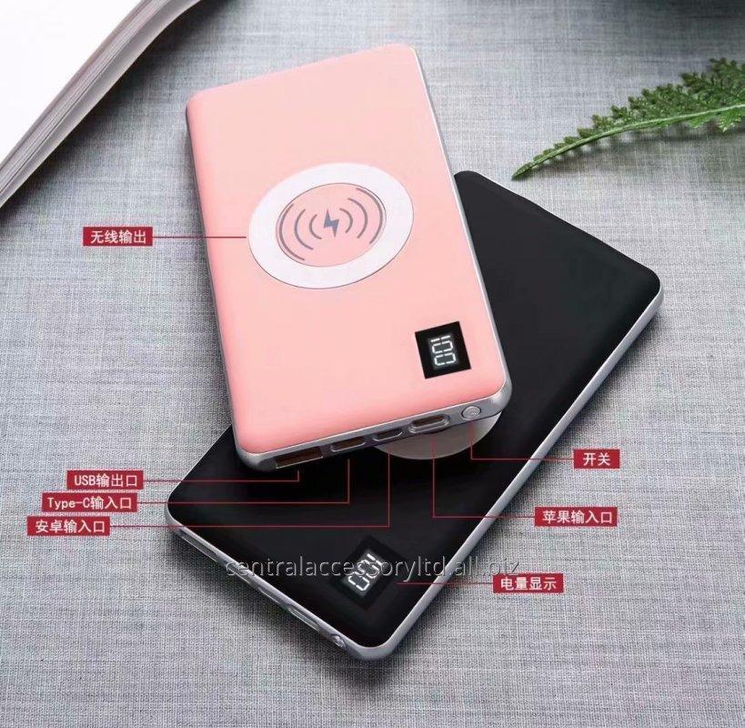 Buy P038D 10000mAh wireless charging external battery mobile wireless charging pad Wholesaler LED digital display