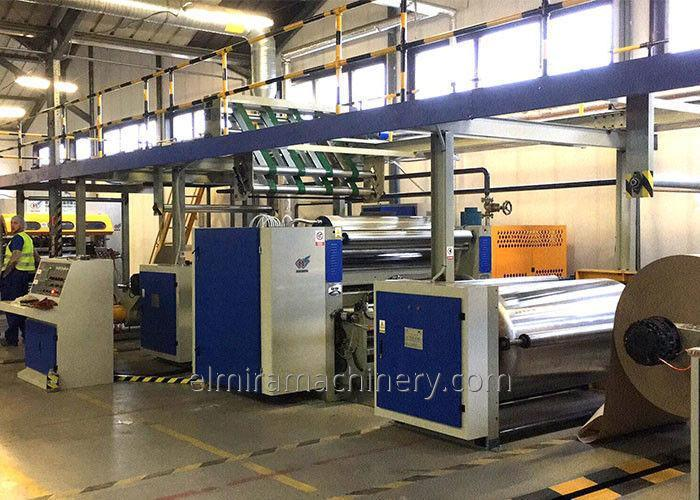 Single facer corrugated cardboard production line (2 ply)