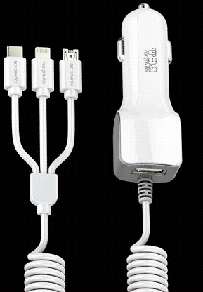 827A+ 3.4A fast charging car charger Quick Car Adapter Exporter Build-in 3 in 1 Cable for Handset and Tablets