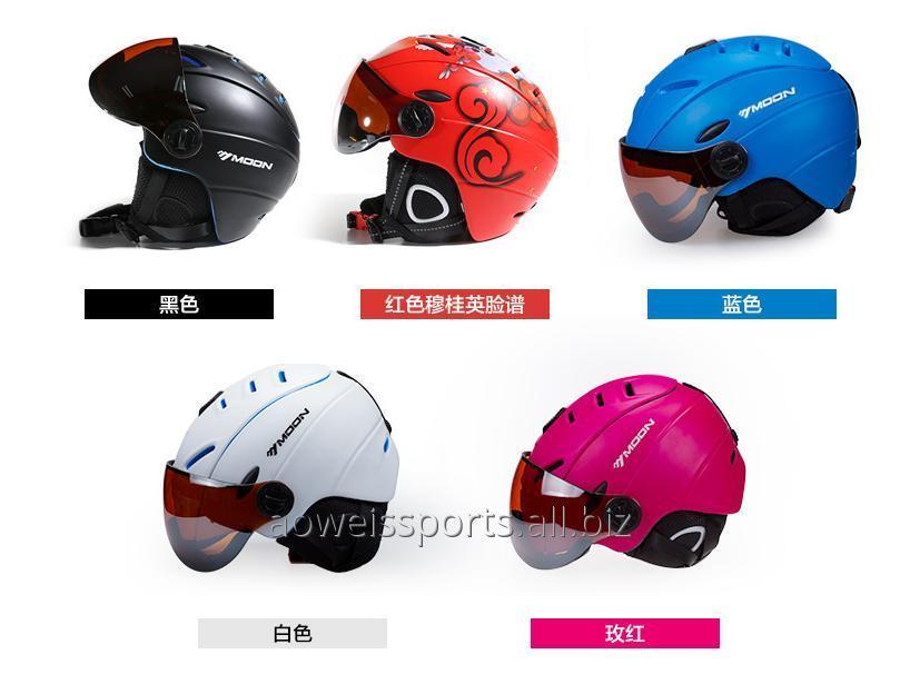 Buy Ski helmet goggles integrated male and female protective ski helmet windproof anti-fog goggles
