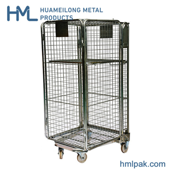 BY-10 Industrial collapsible wire mesh security roll container