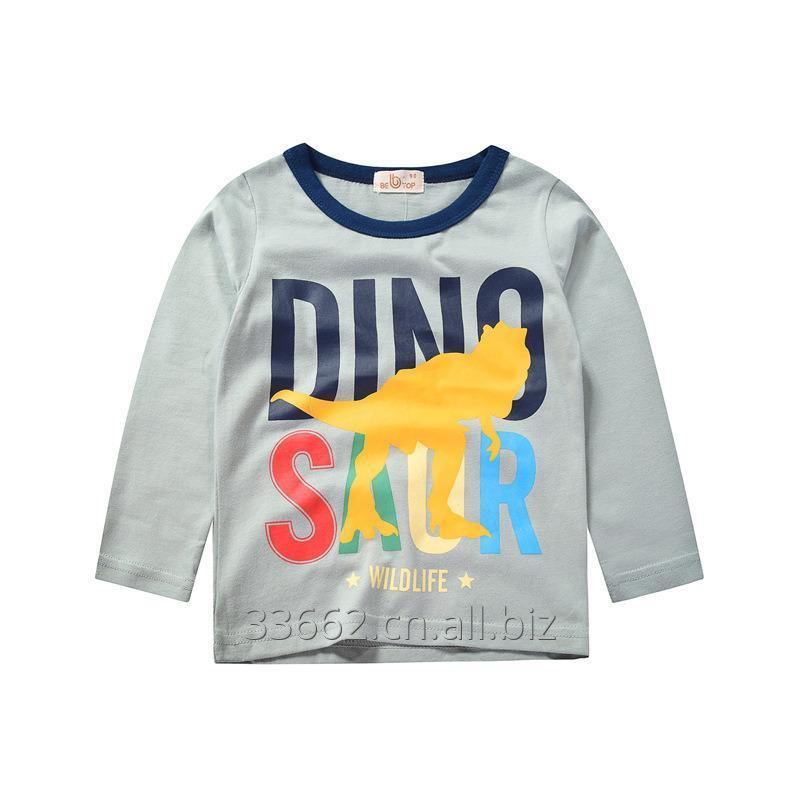 Купить Детская хлопковая футболка Dino с длинным рукавом для мальчиков
