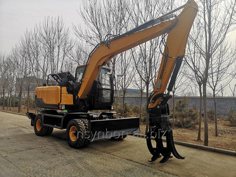 SYNBON High Quality Low Price wheel Excavators with Log Grab/Timber Grab/Wood Grab