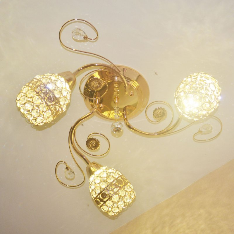 Led ceiling chandeliers 3 lamp gold