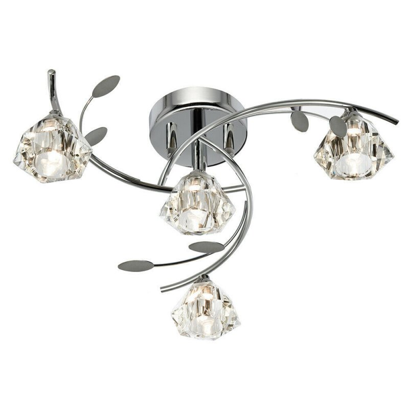 Diamond Shaped Ceiling Lamp Wrought Iron Crystal Lamp 4lamp