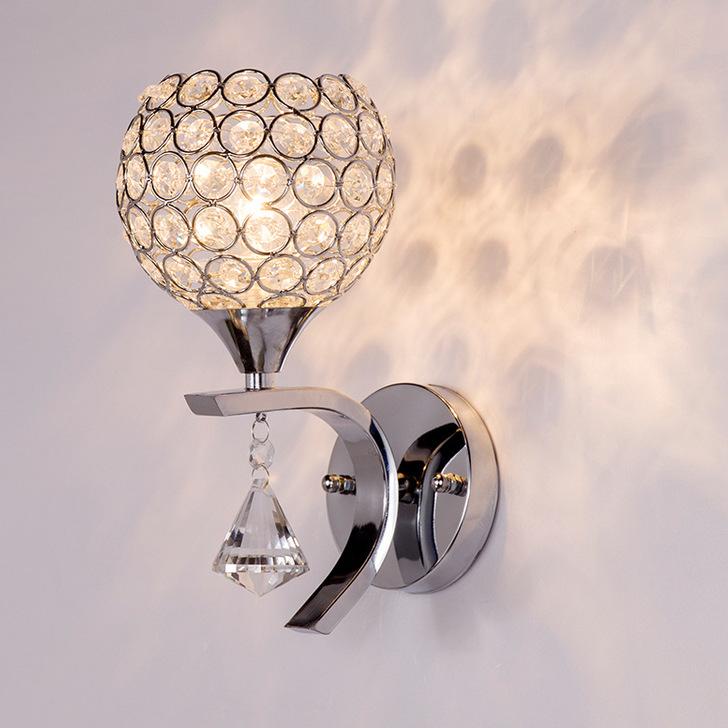 Buy  Indoor Glass Crystal Wall Lamp chrome / aluminum