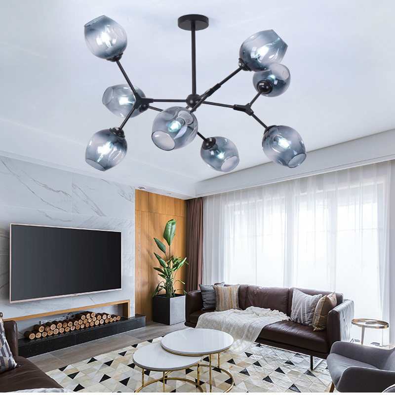 Buy Ceiling chandelier Glass Wrought Iron engineering