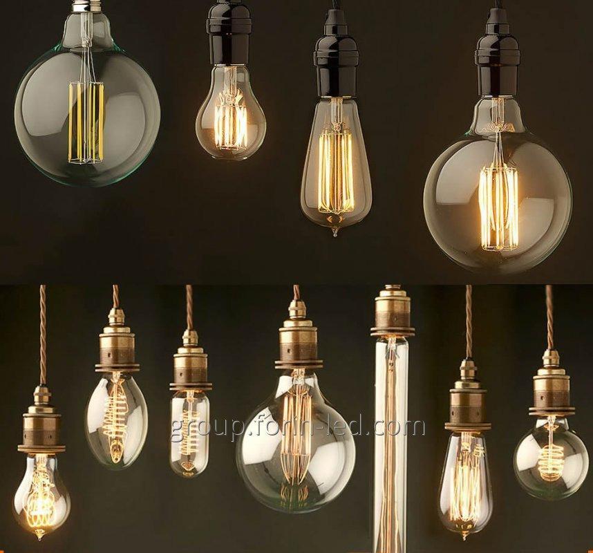 Incandescent filament decorative  C35 G45 T30 ST64 A60 G80 G95 G125 E27 2700K