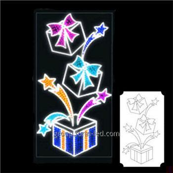 LED console on poles flowers white and blue