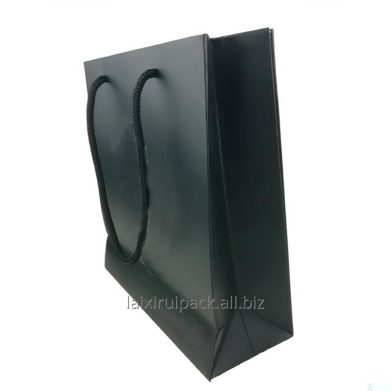 Buy Luxury black craft paper shopping bag with twisted rope handle