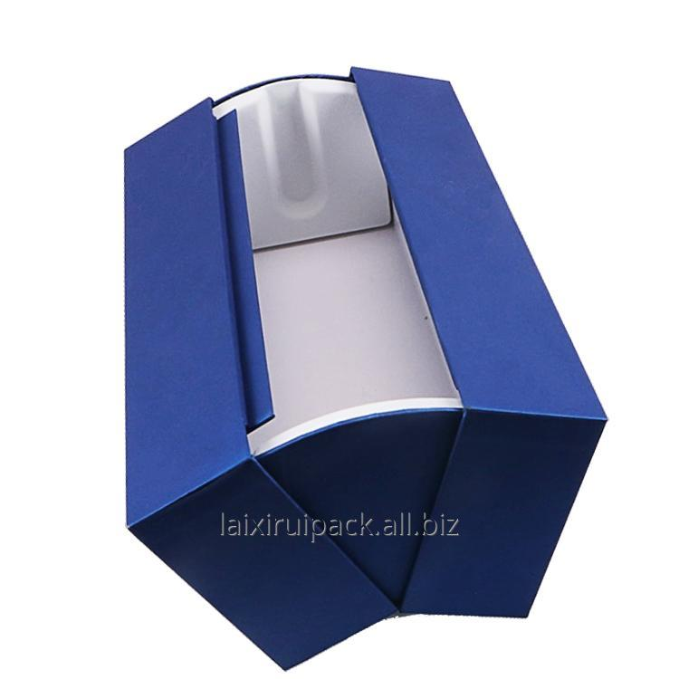 Buy Royal blue rigid Cardboard luxury Packaging Clam shell paper Box For spirits and wine