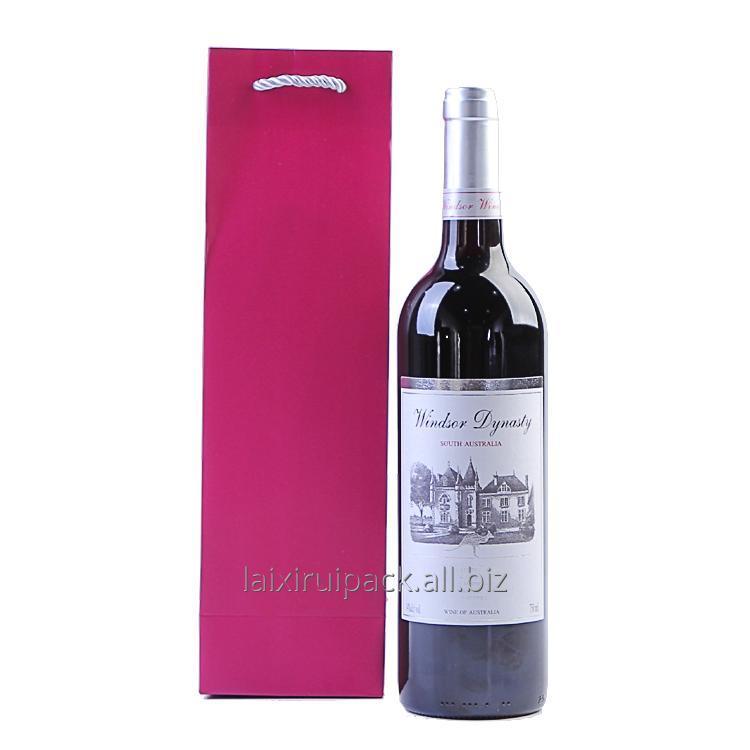 Buy Custom Print red Gift Paper Wine carrying Bags