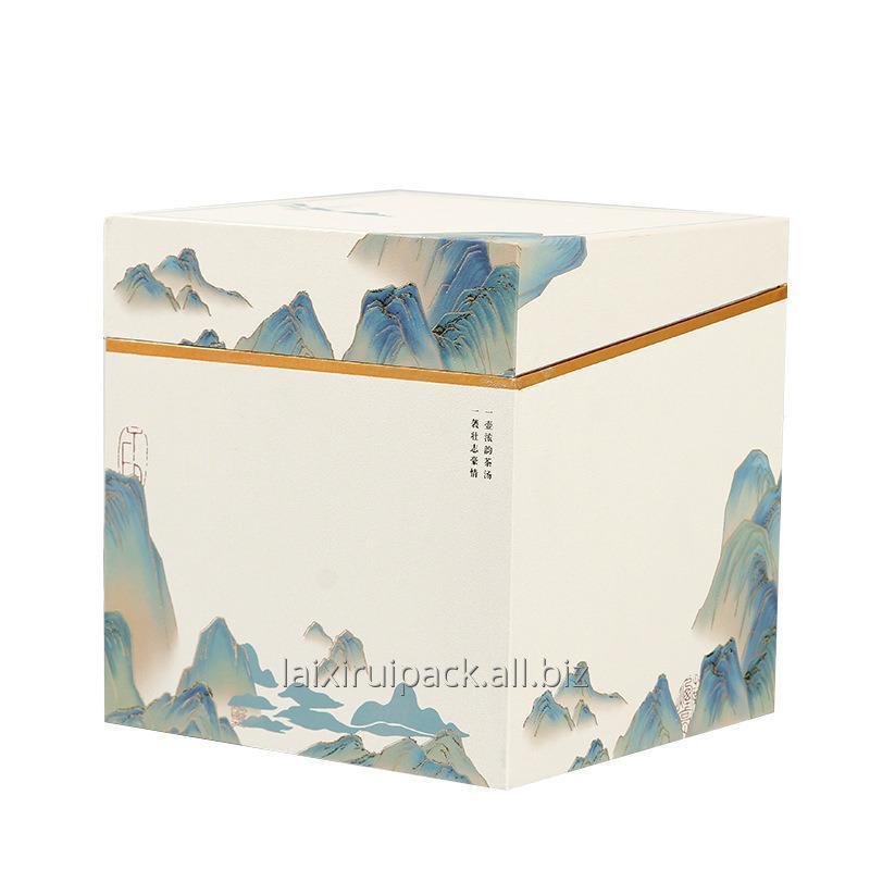 Buy  Custom luxury ivory board landscape theme tea packaging box set square shape